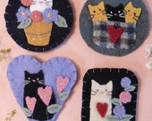 Cute Cats Wool Pins Pattern PDF - embroidery hand kitty brooch jewelry primitive flowers felt kittens