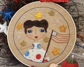 Liberty flag Girl Stitchery hoop art Pattern PDF - patriotic americana bead fabric embroidery design