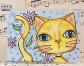Sweet Yellow Tabby cat Original ATC card - ACEO watercolor ink painting