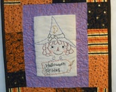 Halloween Hag Raggedy Gal stitchery PDF PATTERN - Ann embroidery doll witch primitive quilt wallhanging tag