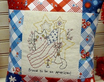 PROUD to be AMERICAN embroidery Pattern PDF - cat primitive Stars