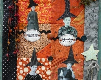 Halloween Witch Black Hat Society Quilt Pattern PDF - wall hanging art