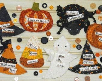 HALLOWEEN Pin Ornament PATTERN PDF - primitive hat party candy corn ornie pumpkin spider