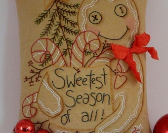 Christmas Gingerbread man embroidery PDF PATTERN - pin keep cushion