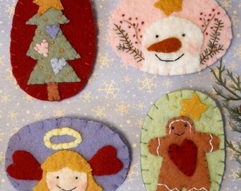 Sweet Christmas Wool Pins Pattern PDF - embroidery angel