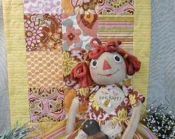Bee Happy Raggedy Gal Quilt Pattern - Doll PDF amy butler fabric anne ann primitive prim