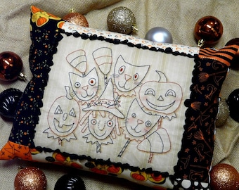 Halloween Ghoul Friend embroidery Pattern PDF - primitive  tuck Pumpkin Black candy corn