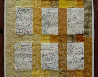 12 Month Kitty Cat quilt PDF Pattern - embroidery Designs Seasonal primitive wallhanging