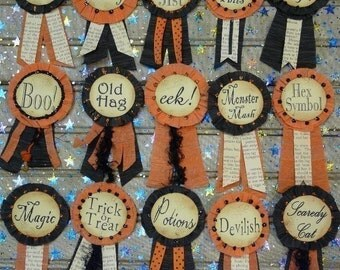 Halloween Minis Pins Badges PDF Pattern - doll jewelry ribbon primitive witch labels tags party streamer