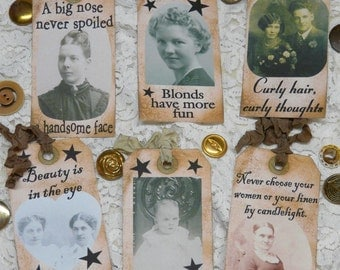 Beauty Tags - vintage pdf altered FUN scrapbooking digital uprint old girl women baby blonde photos primitive paper old