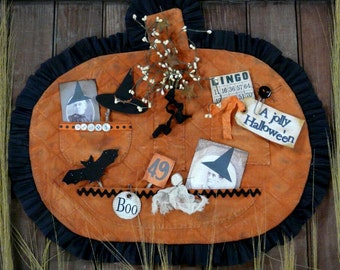 HALLOWEEN treasures Pumpkin Pocket Pattern pdf-  old photos tags grubby