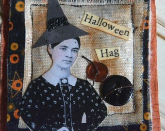 HALLOWEEN WITCH Altered Art collage PIN-  primitive mixed media old photo ooak fabric paper