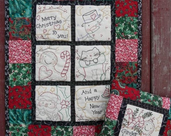 Merry CHRISTMAS embroidery QUILT Pattern PDF -   santa gingerbread man ginger wallhanging