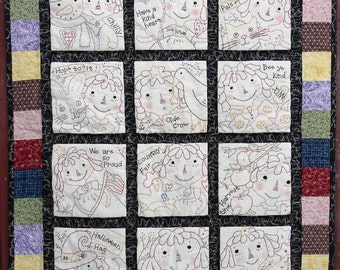 Raggedy Ann embroidery quilt Pattern PDF - 12 months seasonal primitive