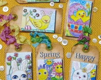 EASTER Bunny egg & Chick Tags -  collage sheet flowers altered scrapbooking digital uprint primitive paper art spring pretty
