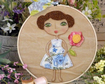Vintage Garden Party Girl Stitchery Pattern PDF - primitive Hoop art embroidery flowers