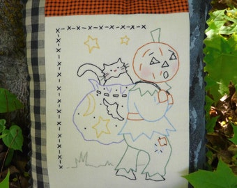 Letting cat outta bag embroidery Pattern - halloween pumpkin man stitchery black cat vintage like primitive
