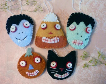 Halloween Wool Ornaments pins PDF PATTERN - Frankenstein dracula vampire candy corn black cat pumpkin