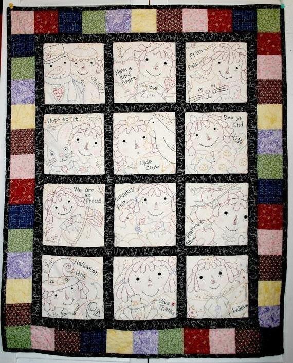 Raggedy gals quilt e pattern 12 months seasonal stitcheries primitive pdf embroidery ann doll cat bunny crow