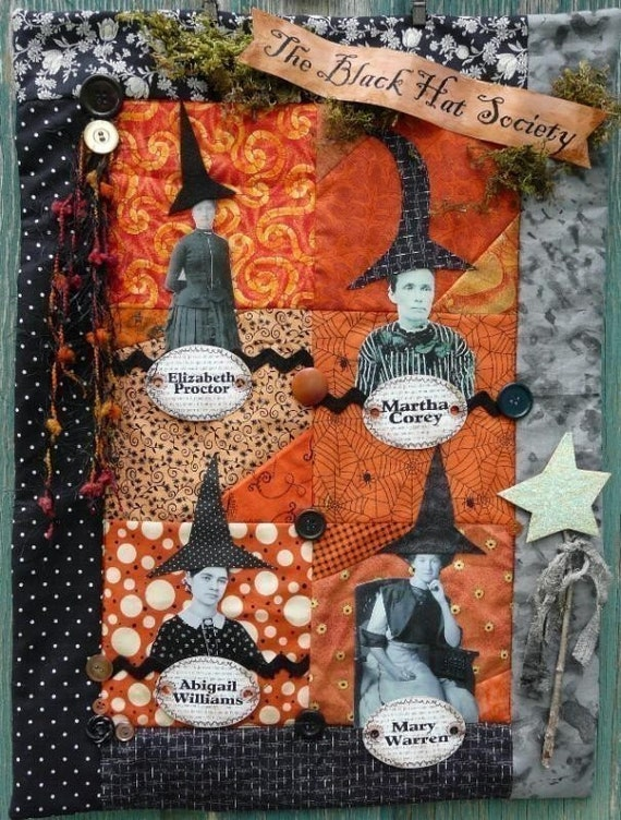 Halloween Witch Black Hat Society Quilt Pattern Pdf Wall