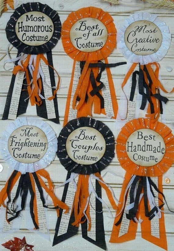 Halloween Party Badges E Pattern- Pins doll jewelry costume ribbon star altered art primitive party