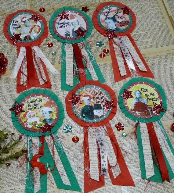Christmas Santa Art Badges E Pattern - Pins doll PDF jewelry old photos ribbon paper crepe star primitive altered art party