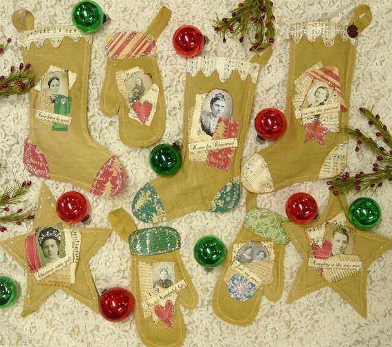 prim Christmas Stocking Mitten Star PDF PATTERN-  ornie ornament old photo primitive scrapbooking Collage art papers heart muslin