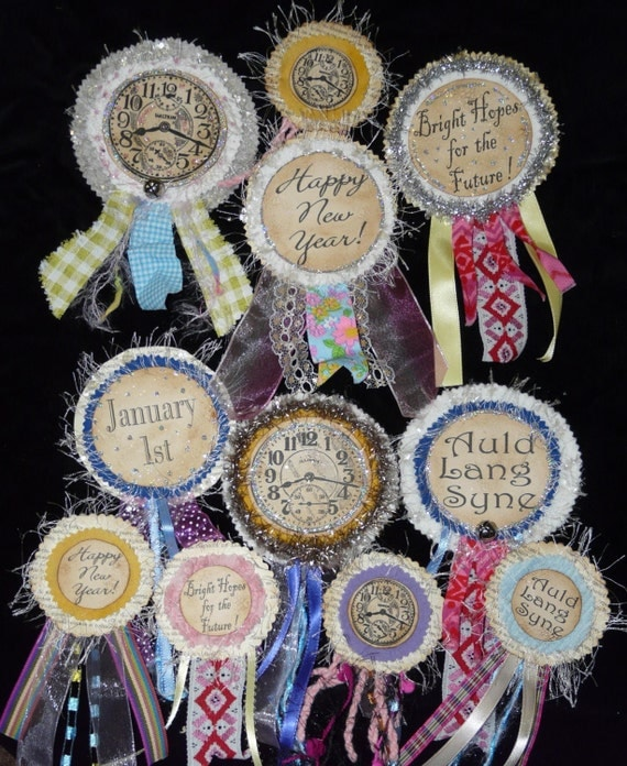 New Years Eve Badges PDF Pattern - Pins doll jewelry ribbon bell christmas party primitive old
