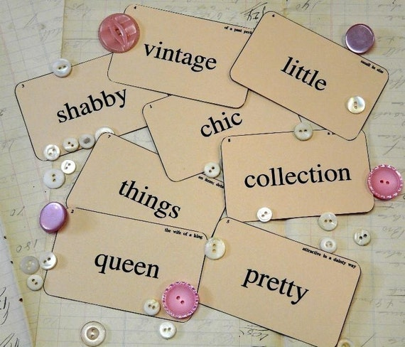 Shabby Chic Queen Flash Cards PDF -  vintage altered scrapbooking digital uprint primitive paper old