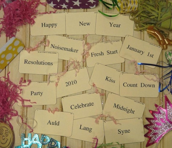 Happy New Year Flash Cards PDF - vintage like 16 altered eve resolution noisemaker party scrapbooking digital uprint primitive