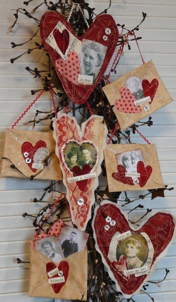 Primitive Valentine Hearts Envelope PDF Pattern - old photos altered art letter tokens of my affection sayings words decor