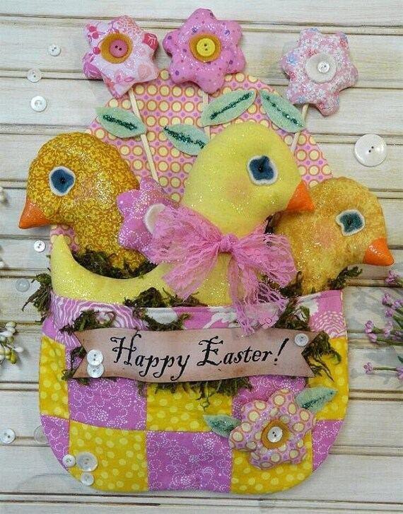 Happy Easter Chicks Egg PDF Pattern - banner patchwork quilt wall display decor spring flowers digital