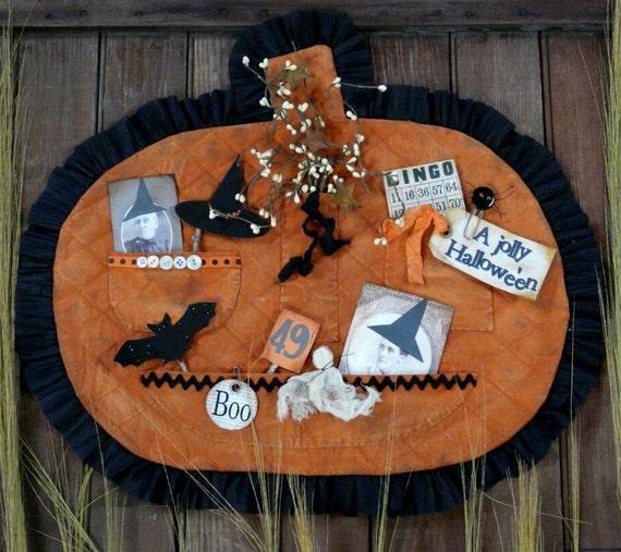 HALLOWEEN treasures Pumpkin Pocket Pattern pdf-  old photos tags grubby