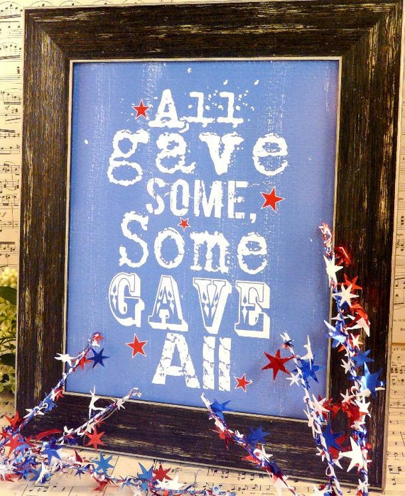 All gave some sign American digital - pdf blue 4th of july uprint art words vintage style primitive paper old  8 x 10 frame saying