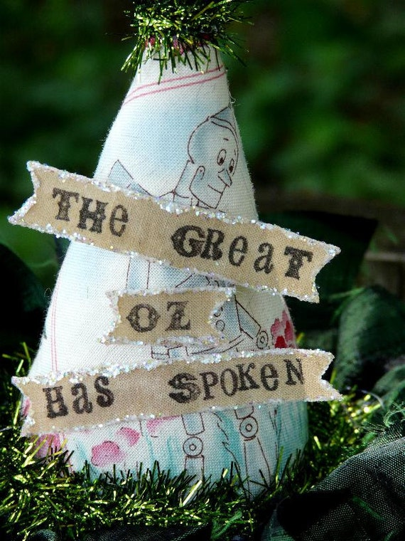 Wizard of OZ Fascinator Party Hat -  tinman fabric banner Steam punk tea party mini head piece