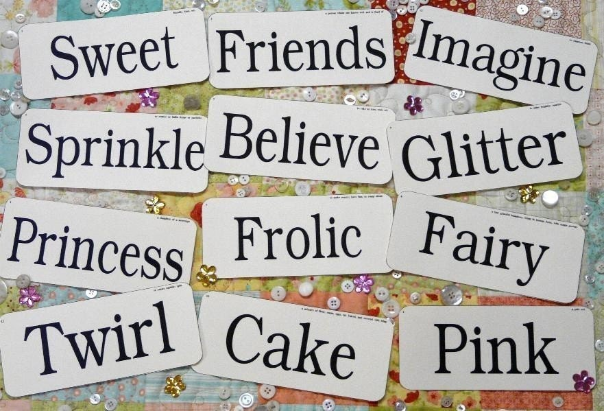 12 Large Girly Flash Cards Pdf Girl Woman Pink Sweet Signs