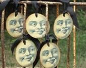 Set of 5 Vintage MOON Halloween Tags Ornaments