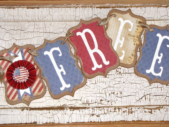 FREE Shipping Vintage Inspired FREEDOM Banner Garland Victorian Paper Rosettes Cream Red Blue White Patriotic