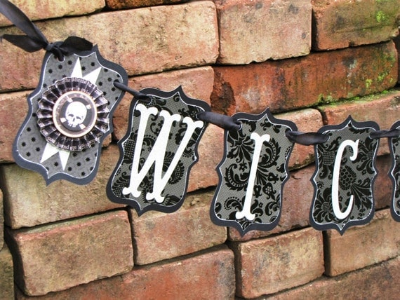 Vintage Halloween Inspired WICKED Banner Garland Victorian Paper Rosettes SKULL Grey and Black damask