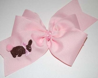 Embroidered Chocolate Bunny Hair Bow Easter Rabbit Candy Boutique