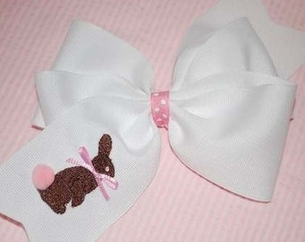 Embroidered Chocolate Rabbit Hair Bow Bunny Easter Candy Boutique