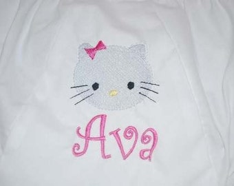 Embroidered Kitty Cat Bloomers Monogram name Diaper Cover Panty Baby Child Girl Boutique