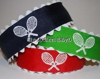 Tennis Anyone Headband Embroidered Racquet Preppy Hair Accessory