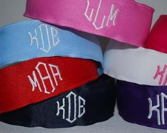 Embroidered Monogram Headband Custom Boutique Preppy Initials Ribbon