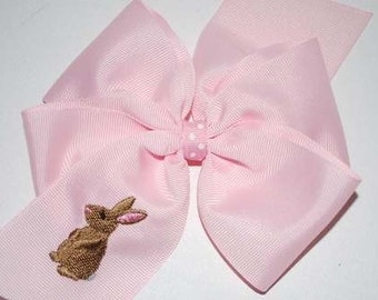 Embroidered Bunny Rabbit Hair Bow Easter Boutique Big Church Spring