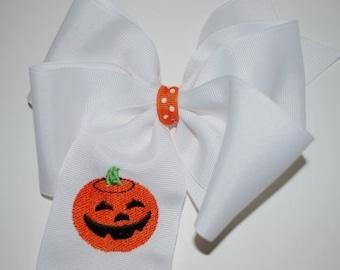 Embroidered Pumpkin Jack o Lantern Hair Bow Halloween Fall