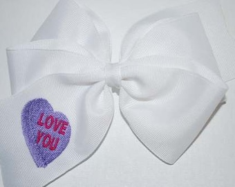 Embroidered LOVE YOU Conversation Heart Valentine Hair Bow Big Boutique Day Candy