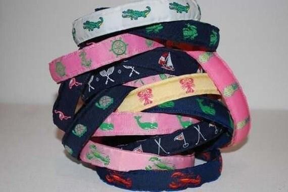 Preppy Woven Ribbon Headband Whale Alligator Anchor Golf Tennis