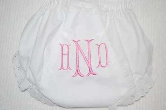 Embroidered Monogram Bloomers Diaper Cover Panty Personalized Baby Child