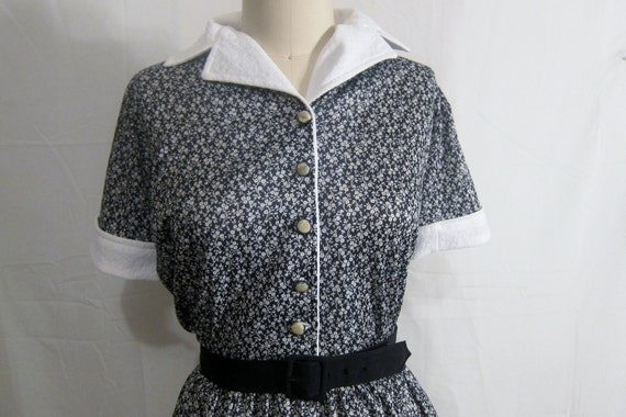 Vintage 1960's Floral Shirtwaist Dress Rockabilly XL-XXL